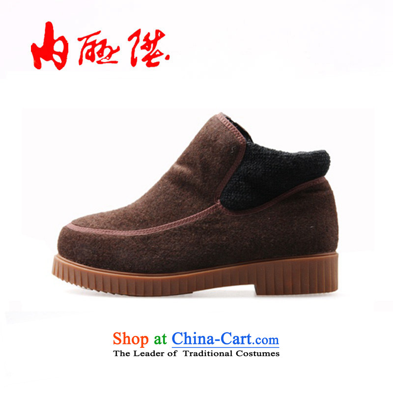 Inline l cotton shoes women shoes of autumn and winter comfort women's non-slip wool relax cotton shoes 6727C coffee color 35