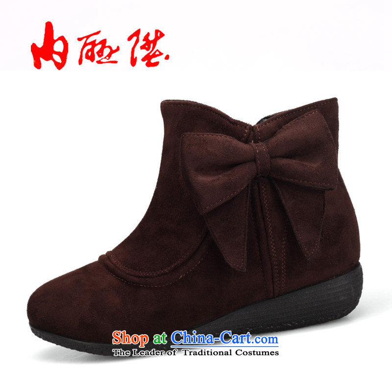 Inline l cotton shoes women shoes of autumn and winter-couture bow tie leisure6057C cotton shoesblack36