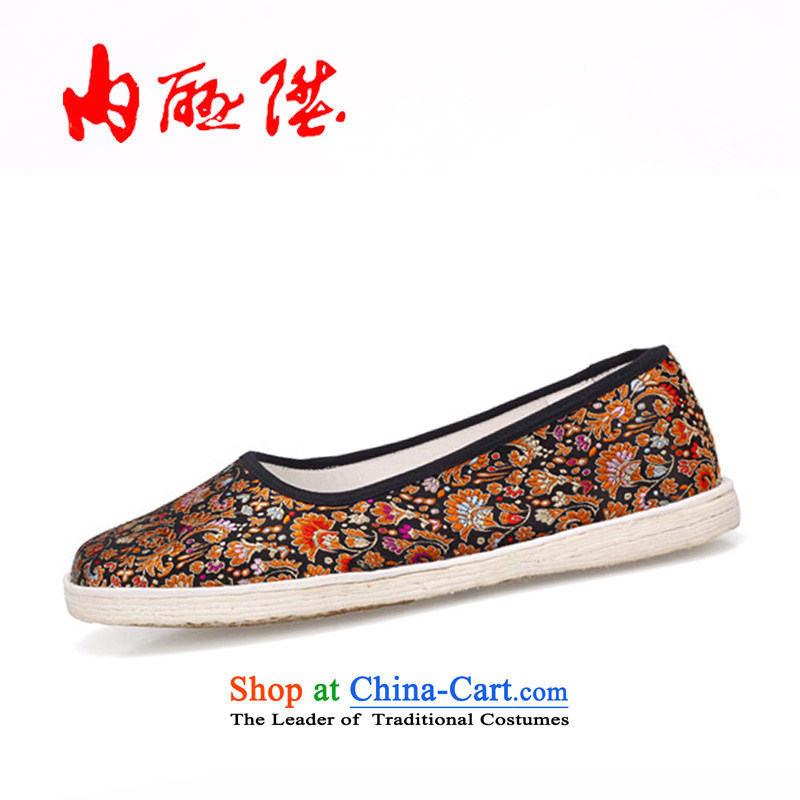 Inline l women shoes of Old Beijing mesh upper hand-mesh upper-floor tapestries female sea side 8716A $New Year gift black37