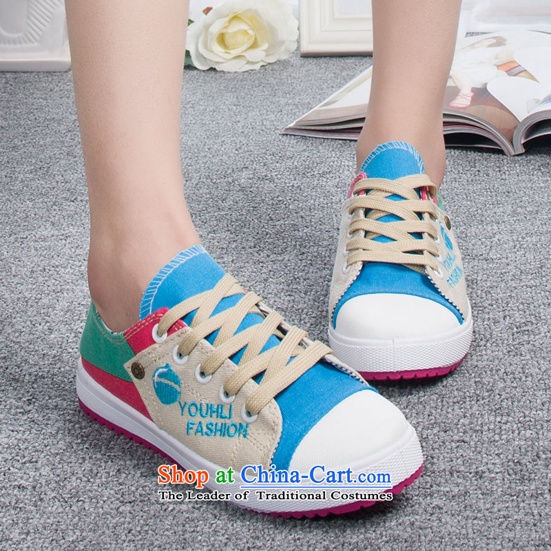 The new 2014-sook, HOSSEIN leisure shoes wild thick cake canvas shoes leisure shoes Blue 38