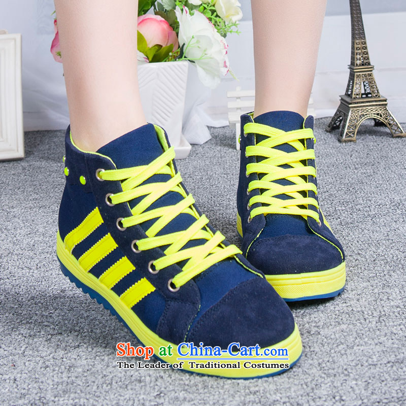 The new 2014-sook, HOSSEIN leisure shoes wild thick cake canvas shoes leisure shoes Blue 36