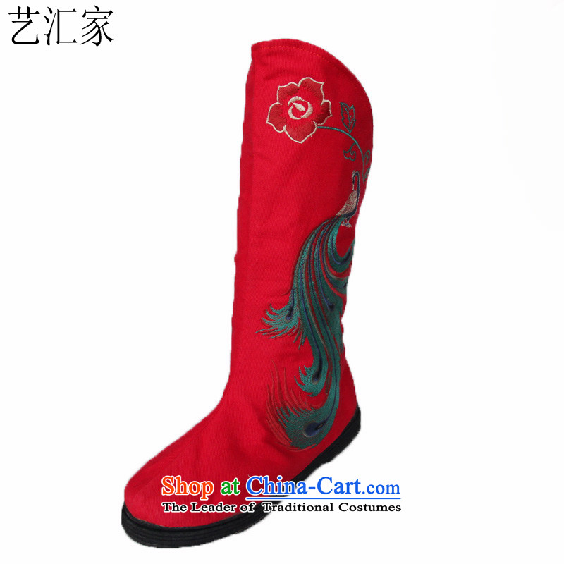 Performing Arts new stylish casual single boot old Beijing mesh upper end of thousands of embroidery boots ladies boot wind back to their Red 37