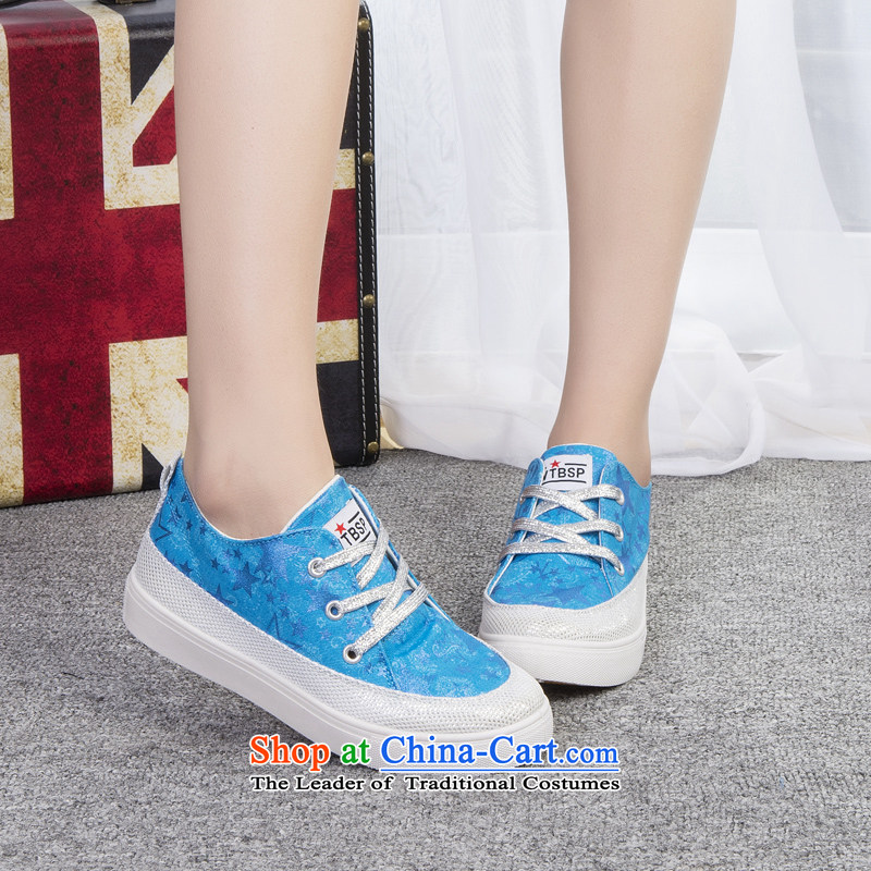 The new 2014-sook, HOSSEIN leisure shoes wild thick cake canvas shoes leisure shoes Blue 35