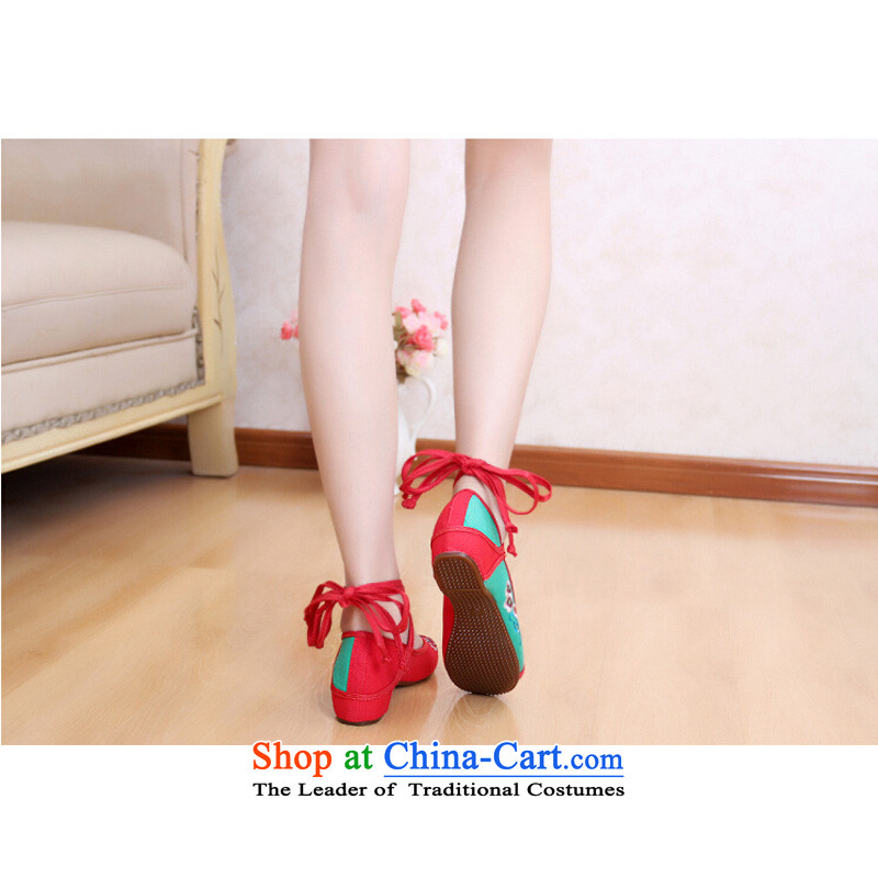 Hiv Rollet Old Beijing mesh upper ethnic strap embroidered shoes package with shoes increased women's shoe Red 40