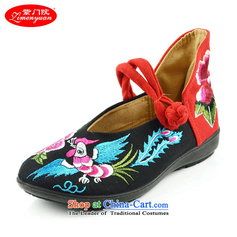 The first door of Old Beijing mesh upper couture embroidered shoes of ethnic single shoe with a lady's shoe slope package with soft bottoms Phoenix embroidery female mesh upper black 34