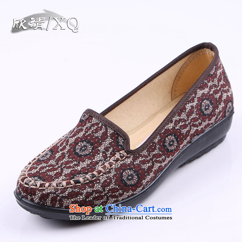 Yan Ching new spring of Old Beijing embroidered shoes comfortable shoes ethnic dance Square Leisure shoes with soft, single shoe 1578 Brown 39