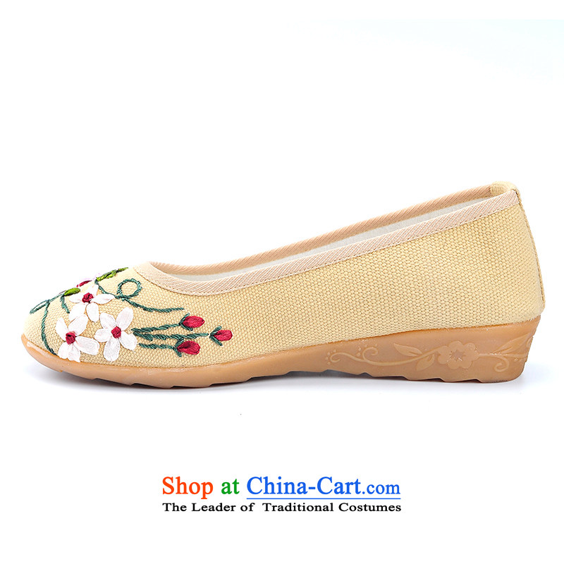 Better well old Beijing mesh upper female single women leisure shoes beef tendon bottom spring and autumn women shoes stylish low rise with women shoes low mesh upperB931-10 embroidered shoes & cornhusk yellow35