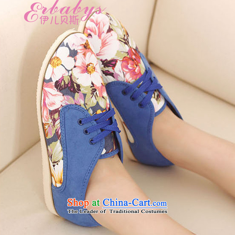 El-jun (Addis Ababa C.O.D.- 2014 new Korean sweet flowers cloth stitching tether flat bottom flat with round head deep casual women shoesRoom 222-2blue35 .