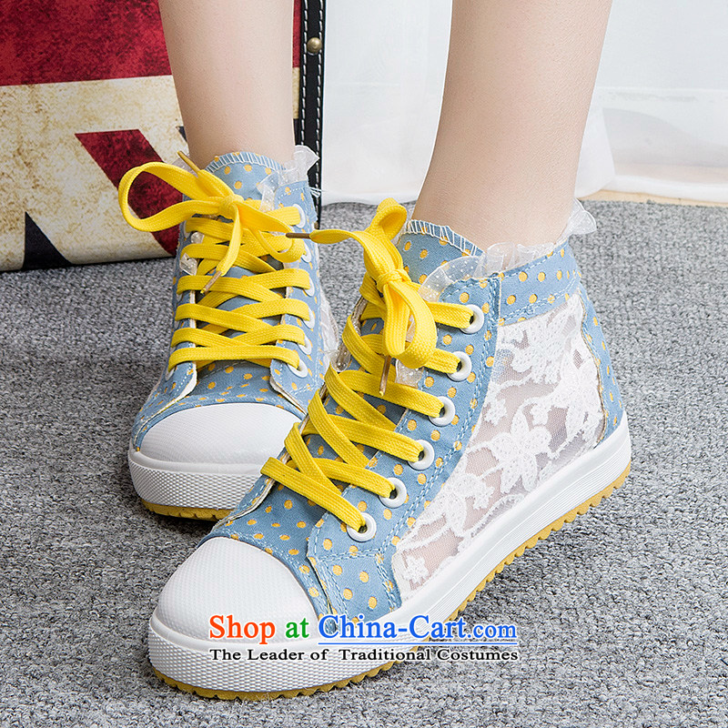 2014 new lady leisure shoes wild thick cake canvas shoes leisure shoes light blue 36