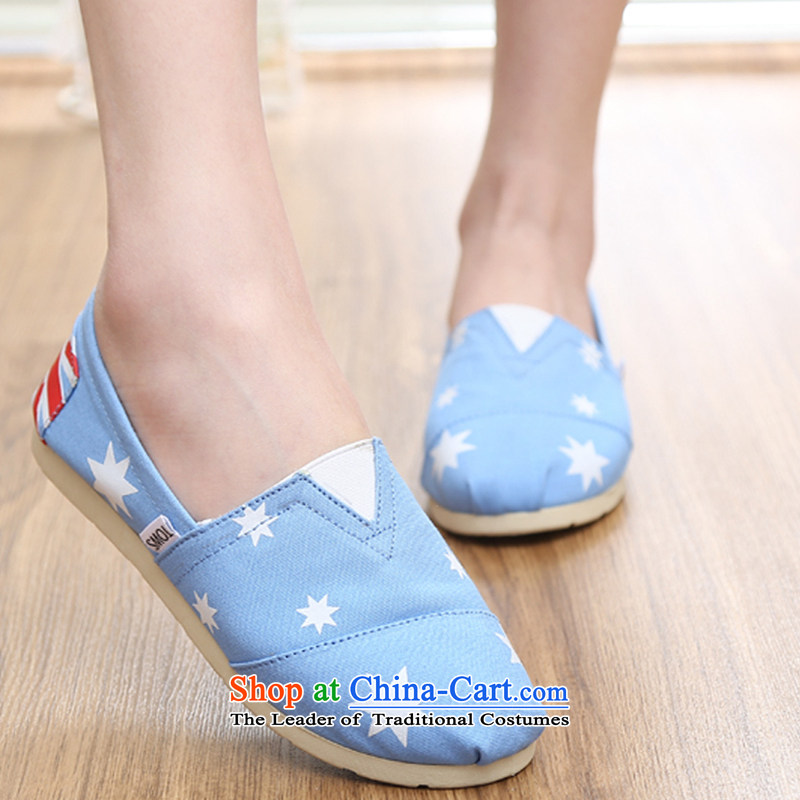 【 C.O.D.- 2015 Spring/Summer couples, mesh upper stars lazy people shoes flat bottom canvas shoes couples shoes, casual shoes comfortable shoes single breathable light blue 37