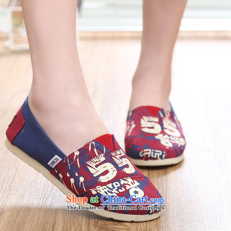【 C.O.D.- 2014 Spring/Summer women shoes stars lazy people shoes flat bottom canvas shoes woman shoes, casual shoes comfortable shoes single breathable Red 39