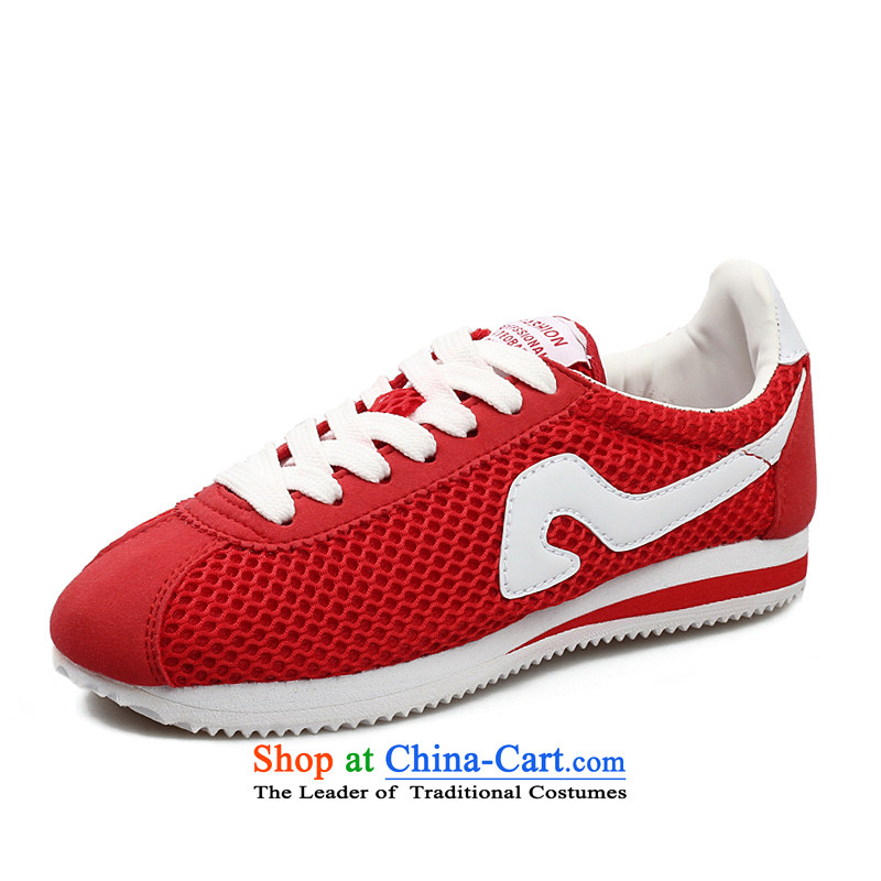 The spring and summer of 2014, mesh upper stars independent couples the shoe flat bottom canvas shoes couples shoes, casual shoes comfortable shoes single breathable Red 39