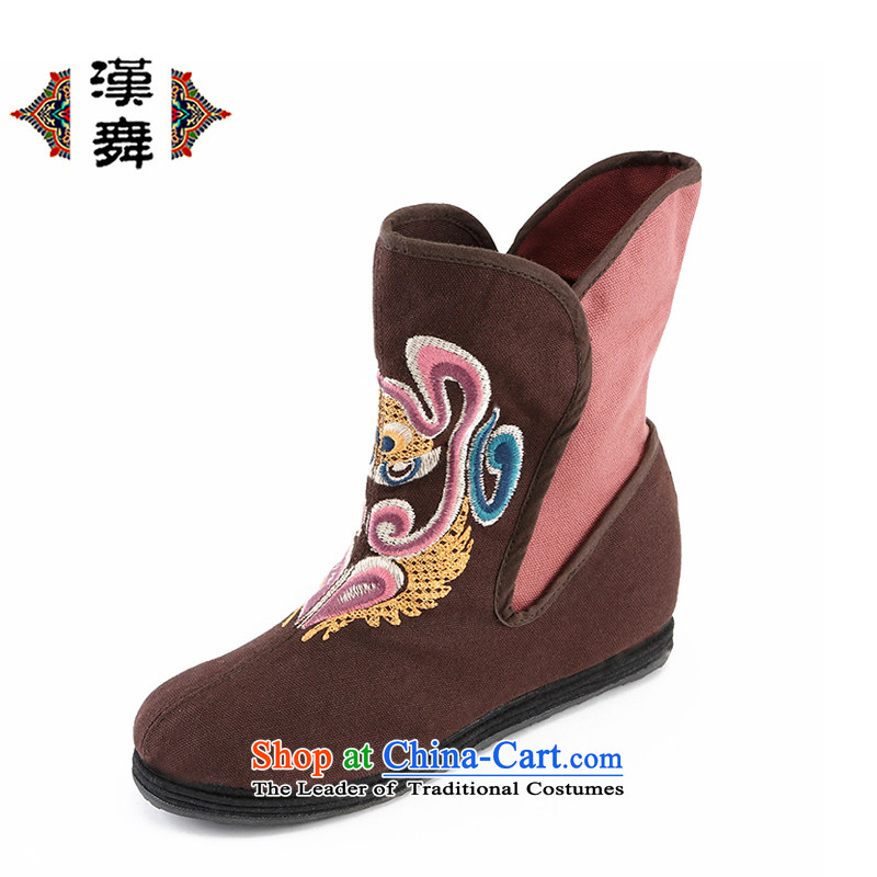 Hon-dance genuine autumn and winter) flat bottom click shoes increased female national wind old Beijing embroidered shoes mother shoe BREATHABLE BOOTIE that coffee-colored shoes 37