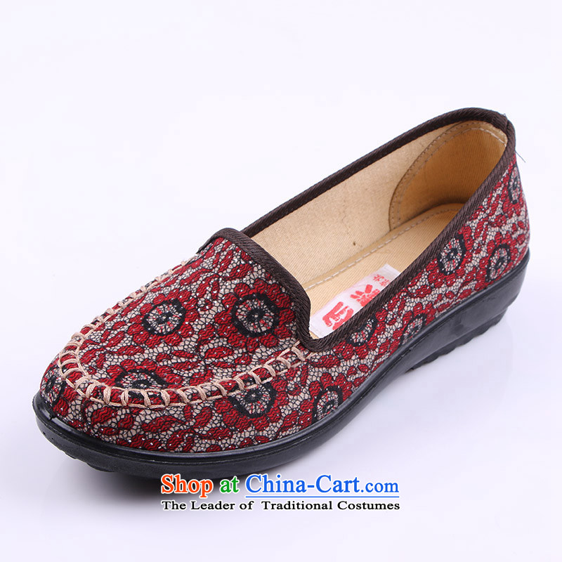 Yan Ching fall new old Beijing embroidered shoes comfortable shoes national casual shoes Frau Holle square dance mandatory soft bottoms single shoe 1578 Red 36