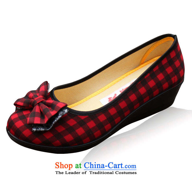 Yan Ching spring and summer leisure old Beijing mesh upper with women shoes in Paju Fashion Shoes leisure bow tie mother shoe 710 Red 40