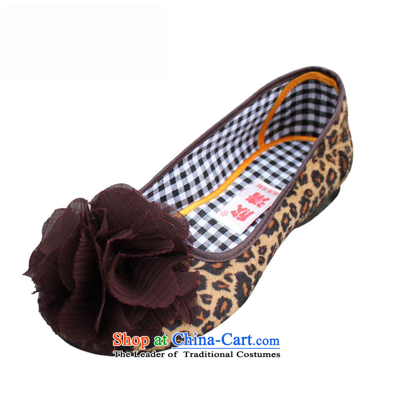 Welcomes the clear spring and autumn/smart casual flat shoe light port of Old Beijing mesh upper with comfort and breathability work shoes mother shoe floral leopard single shoe350-11Leopard35