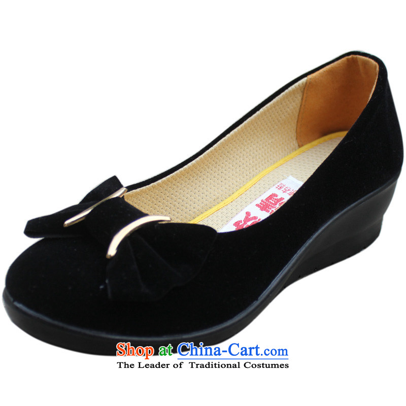 Yan Qing Beijing XQ/ mesh upper woman shoes, casual shoes comfortable shoes . Ms. Mama slope heel shoes work shoes 13009 Black 37