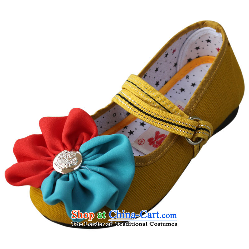 Welcomes the definition of Old Beijing mesh upper mesh upper elementary school students little girl single shoe flat bottom children shoes聽t001聽yellow聽30 yards _19.5cm