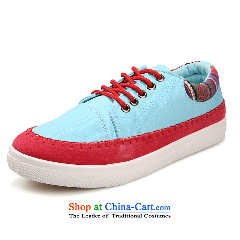 2014 New Men, couples low shoes stylish and cozy single shoe wild England driving shoes canvas Tie Shoe 666 Light Blue 36