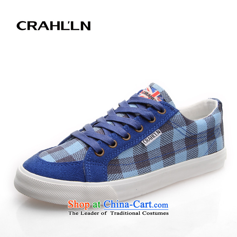 Card-low in the summer and autumn plaid cowboy mesh upper with flat shoes boudoir honey sister shoes stitching grid color plane collision womens single shoe blue and gray聽36
