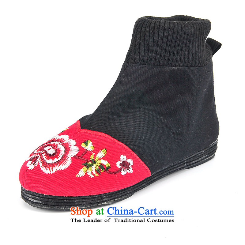 Better well old Beijing mesh upper embroidered shoes bottom thousands of retro ladies boot embroidery knitting port bootie flat bottom shoe pregnant women shoes mother shoe stylish cloth Boot B-5 Red 34