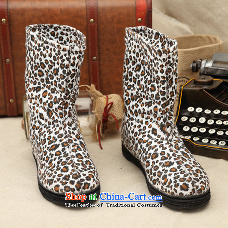 Charlene Choi this court of Old Beijing mesh upper with thousands of women shoes bottom bootie leopard stylish mother boots film non-slip wear shoes increased within the pregnant women shoes Leopard35