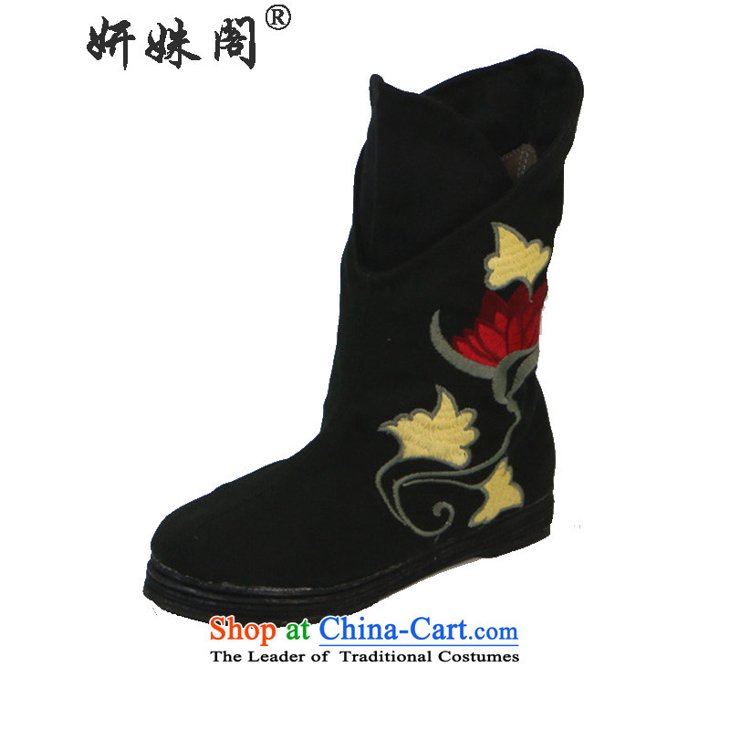 Charlene Choi this court of Old Beijing stylish shoe mesh upper embroidered shoes round head of ethnic thousands of women in the boots of the increase in the elegant low black boots35