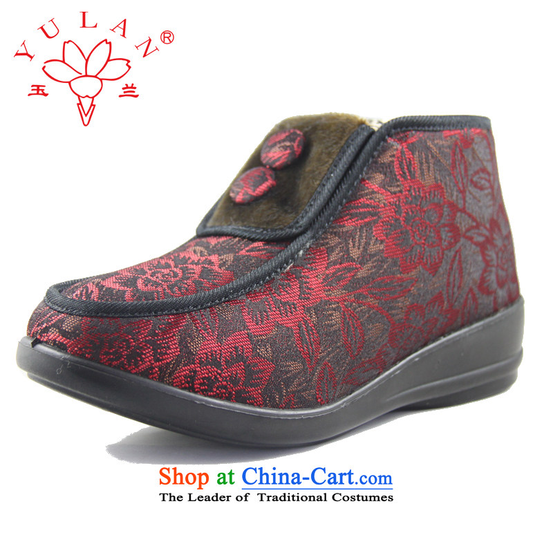 Magnolia Old Beijing mesh upper women shoes winter new products satin jacquard older non-slip the end of wear warm short cashmere embroidery cotton shoes 2616-251 Red 36