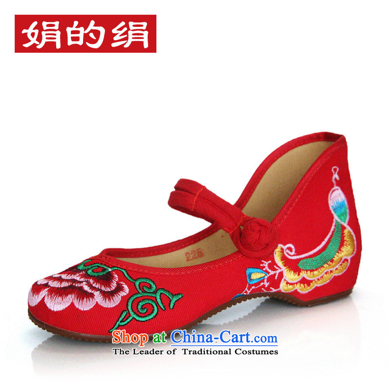 The silk autumn old Beijing mesh upper ethnic embroidered shoes red shoes bride shoes slope marriage with the increase in the female singles 525A70 shoes Red 40