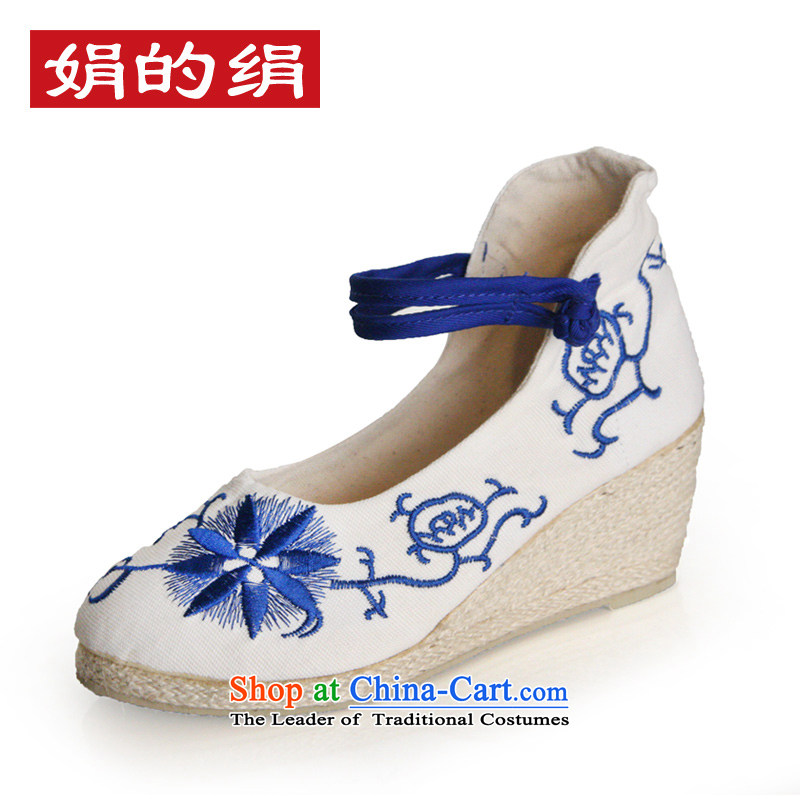 The silk autumn old Beijing mesh upper ethnic embroidered shoes antique porcelain slope with the high-heel shoes light shoe single port聽577聽white聽39
