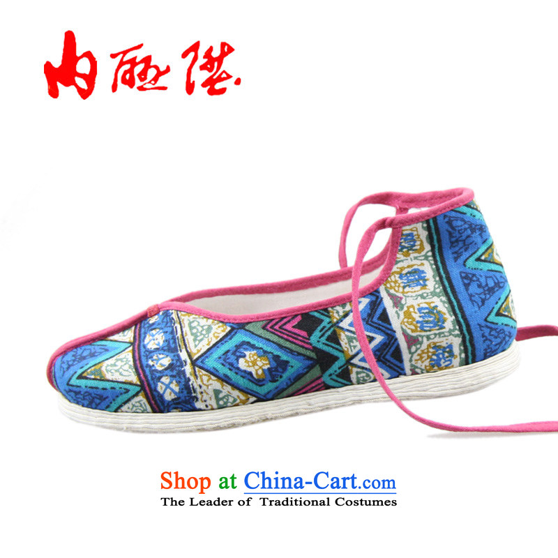 Inline l embroidered shoes female spring bottom layer mesh upper with thousands of manually-gon thousands of ethnic women shoes 8284A tether light 38