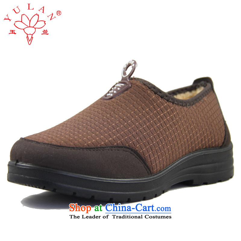 Magnolia Old Beijing women shoes winter of mesh upper with elastic short cashmere warm cleat 2616-278 Brown36