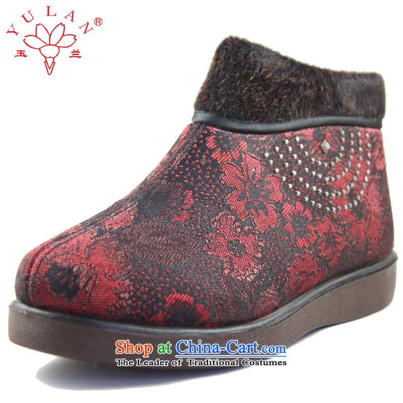 Magnolia Old Beijing mesh upper for older women winter thick slip comfortable dark floral decorations of the lint-free mother shoe 2616-240 Red40