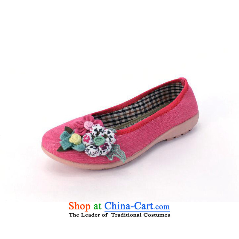 New stylish fabrics embroidered shoes of Old Beijing mesh upper exclusive and comfortable shoes boat shoes single soft Yoga dance shoe 001-3 shoes pink 37