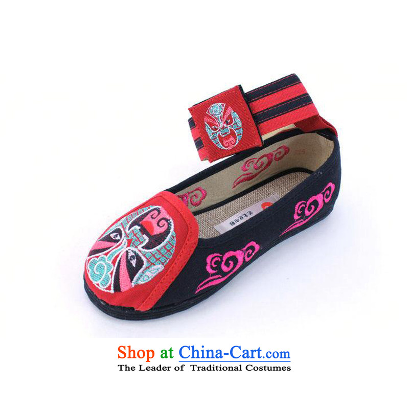Ethnic characteristics of Old Beijing Women Shoes hanging ornaments embroidered shoes comfortable shoes thousands ground single shoe RC5009 RC5009 black 39