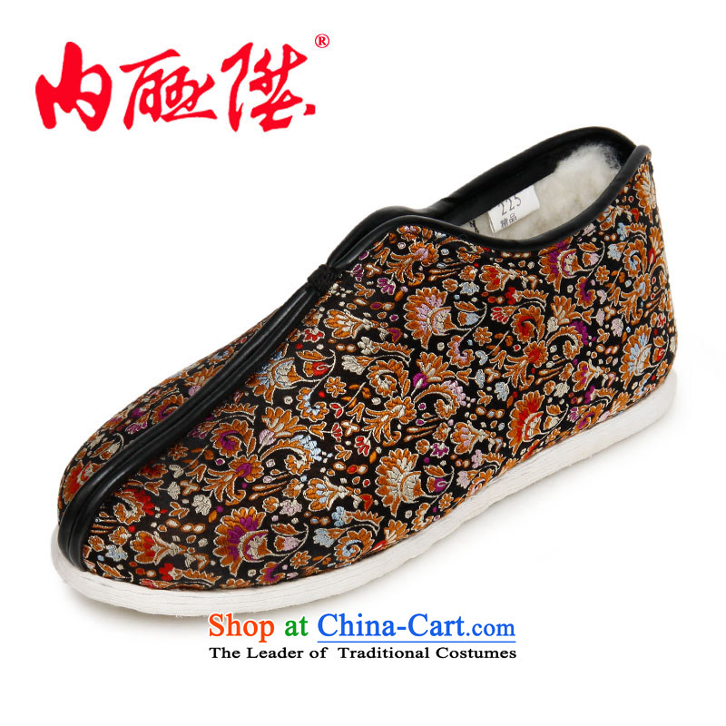 Inline l female cotton women shoes bottom layer processes manually thousands tapestries wool on cotton shoes for autumn and winter warm old Beijing8417A mesh upperblack41 XL