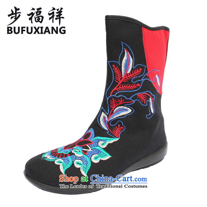 Step Fuxiang trendy New, Old Beijing mesh upper China wind embroidered ladies boot flat comfortable pension pin ladies boot X35-1 black 37