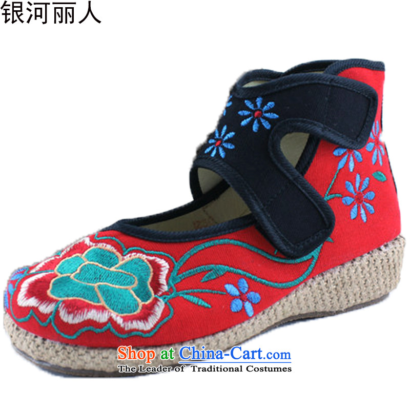 The new cake Bottom shoe old Beijing mesh upper ethnic embroidered shoes stylish single shoe 418-6 418-6 Red 39