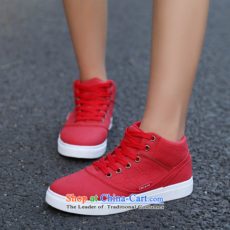【 C.O.D.- 2014 new autumn and winter casual women shoes Sleek and versatile high profile and click shoes, thick women shoes comfortable shoes Red 40