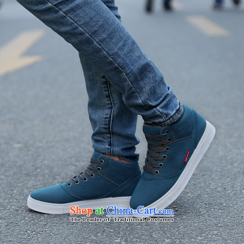 The new 2014 autumn and winter warm plus cotton casual women shoes Sleek and versatile high profile and click shoes, thick women shoes comfortable shoes blue cotton 37
