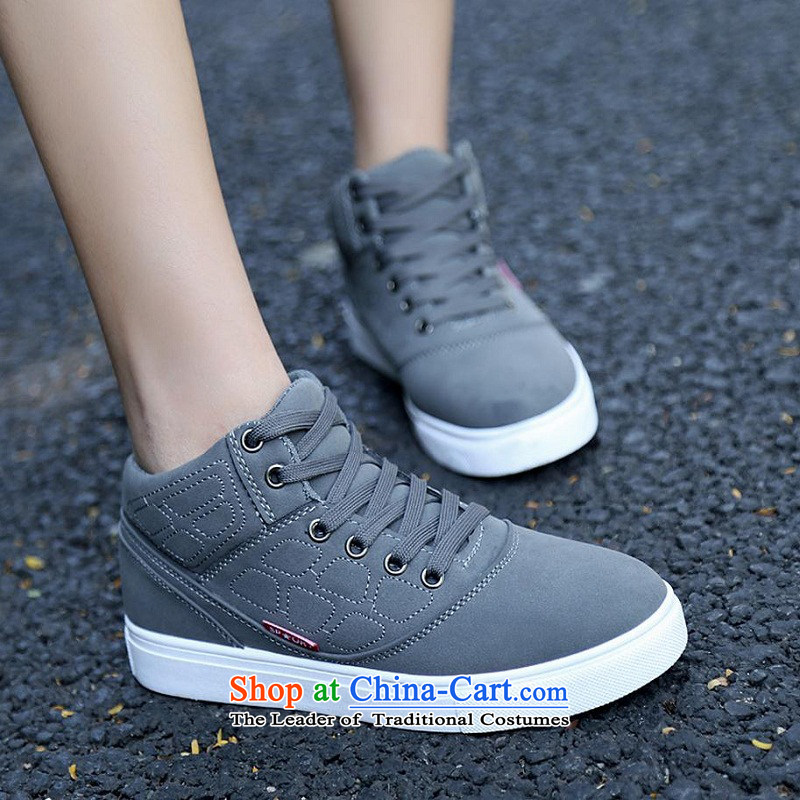 【 C.O.D.- 2014 new autumn and winter casual women shoes Sleek and versatile high profile and click shoes, thick women shoes comfortable shoes gray 38