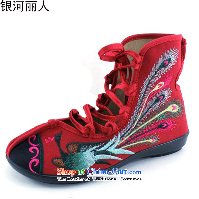 Personalize the creative fashion woman shoes of Old Beijing mesh upper embroidered shoes with soft, womens single shoe genuine embroidered boots 8520-87 Red38