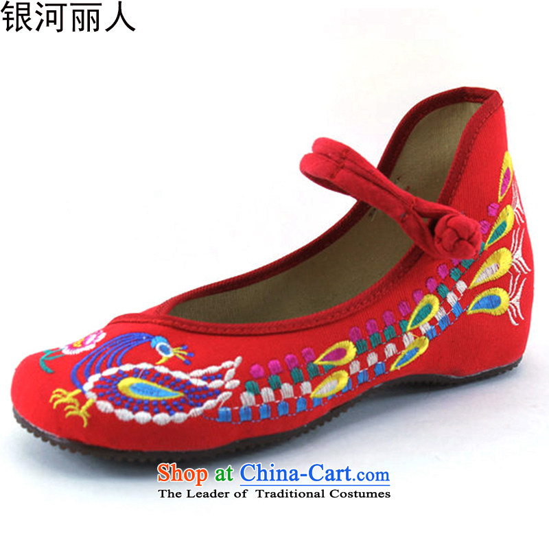 The new genuine old Beijing mesh upper stylish shoe increased within single shoe embroidered shoes shoes bride shoes 412-926 marriage Red 37