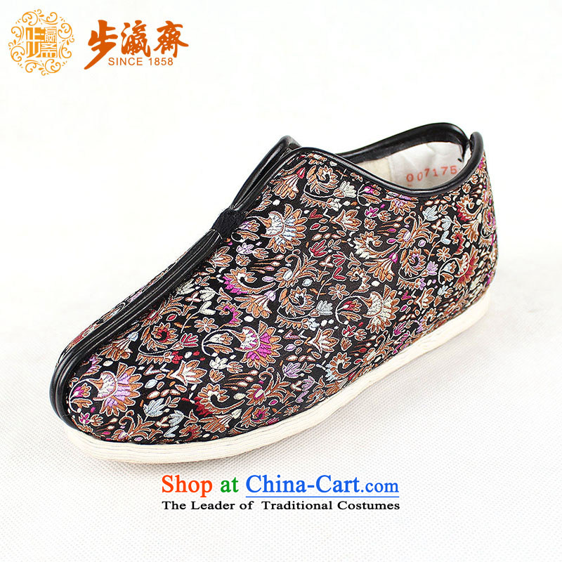 The Chinese old step-young of Ramadan Old Beijing mesh upper hand-thousand-layer apply glue to the bottom with non-slip gift elderly small girl thousands of cockscomb on cotton black 41 (Increase) this shoe is too small a concept of a large number