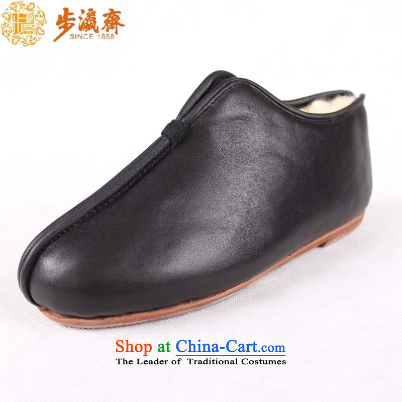 The Chinese old step-young of Ramadan Old Beijing mesh upper hand bottom of the Lambs psoriasis warm Gift leather wool female, old cotton black 39