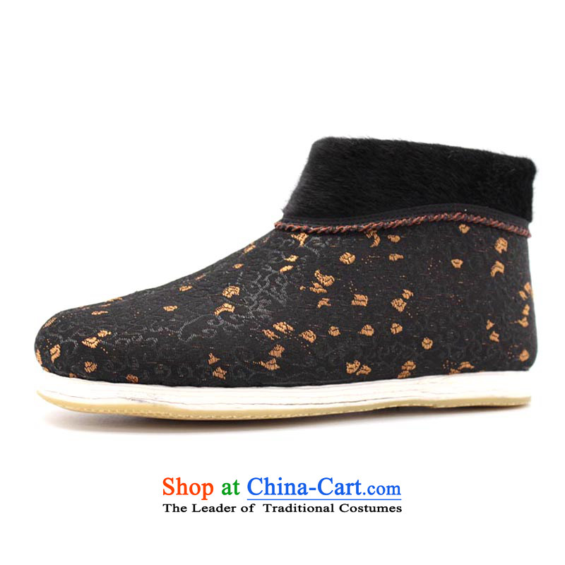 The Chinese old step-young of Old Beijing mesh upper for Ramadan, thousands of bottom apply glue to non-slip with flower gift elderly small-glue cotton pull the lock on the yellow 36 this shoe is too small a concept of a large number