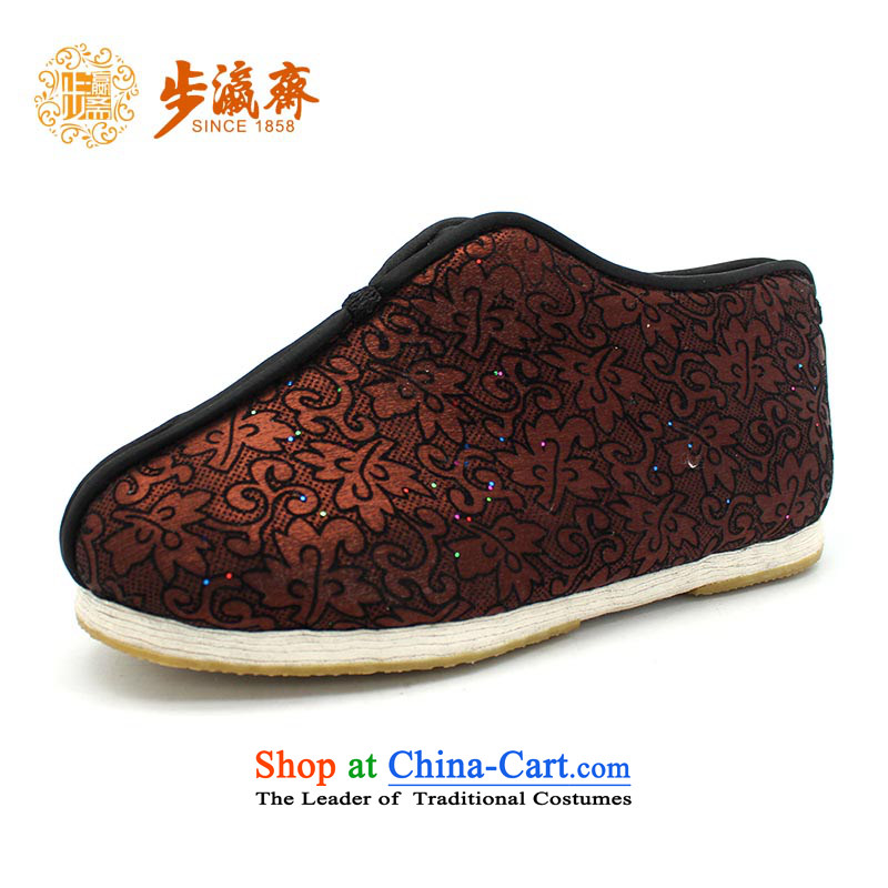 The Chinese old step-young of Ramadan Old Beijing mesh upper hand-thousand-layer apply glue to the bottom with non-slip gift elderly small film A-6 Brown 38 this shoe is too small a concept of a large number