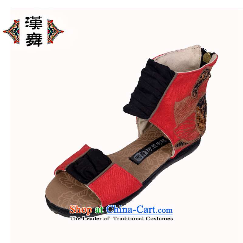 Hon-dance genuine offer old Beijing women shoes comfortable shoes bottom of thousands of ethnic embroidered shoes open toe fish tip sandals female artists of the Red Flower ink 37