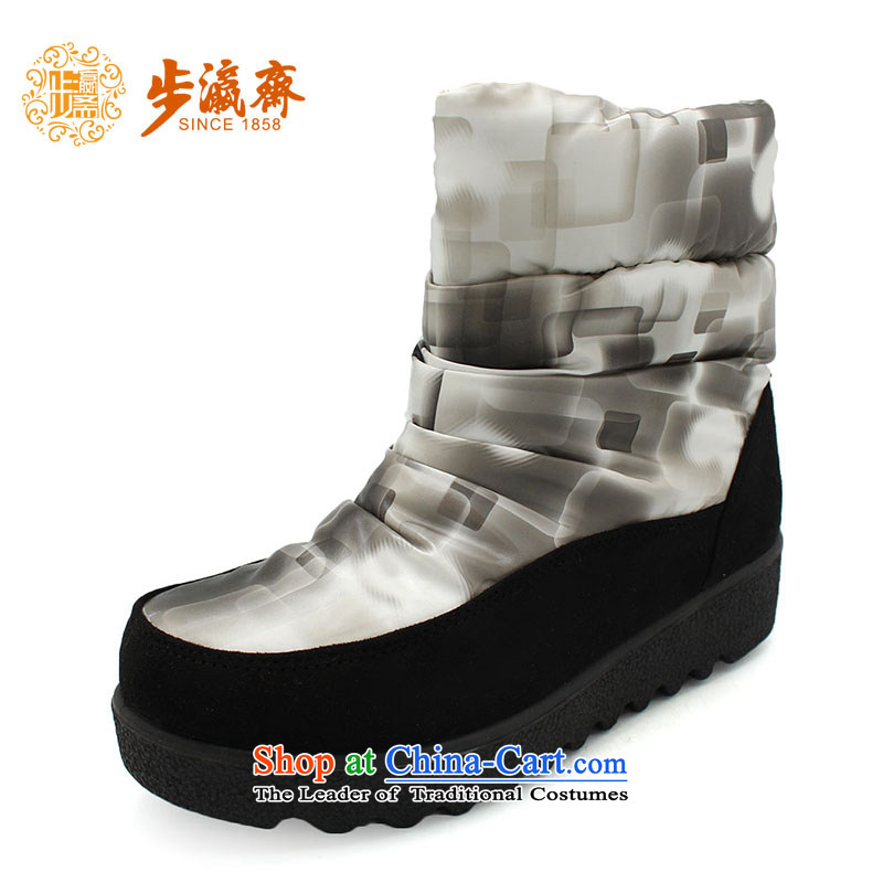 The Chinese old step-young of Ramadan Old Beijing mesh upper flat bottom stylish non-slip warm casual gift mother shoe66770 gray and white38