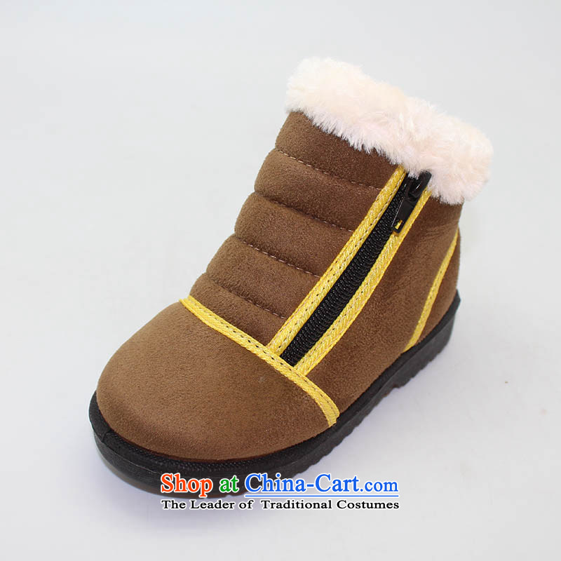 The Chinese old step-young of Ramadan Old Beijing mesh upper winter new_ child cotton shoes anti-slip warm baby shoesB15-a216 Kids shoes brown28 _19cm code